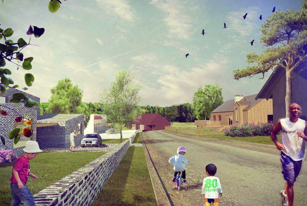 Skissad bild över nytt bostadsområde