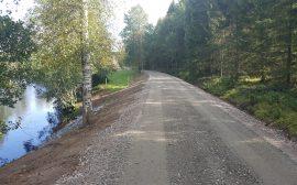 cykelväg utmed en sjö och skog