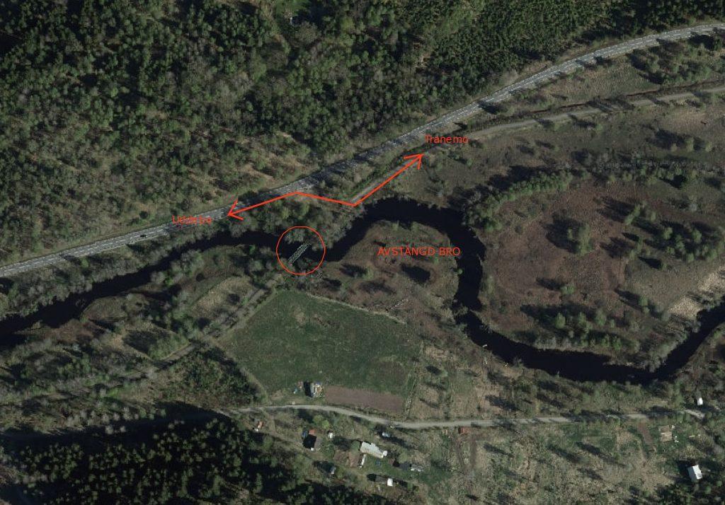 Karta över avstängd bro.