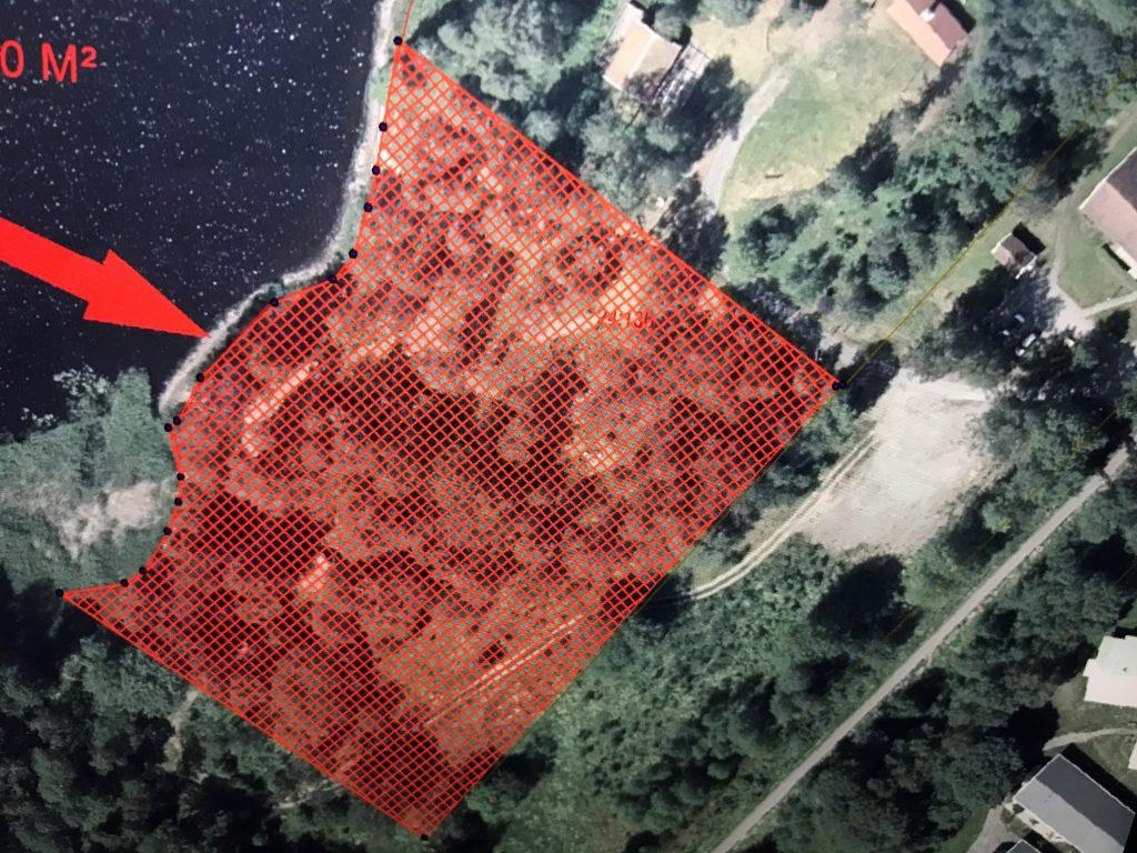 Flygfoto med markerat område vid hembygdsparken i Tranemo