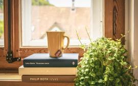 Tekopp placerad på några böcker