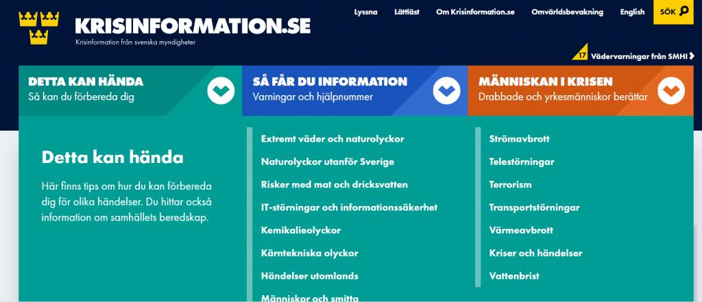 skrämdump från hemsidan krisinformation