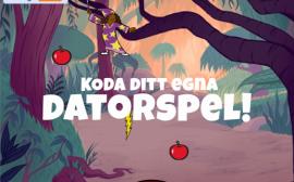 """Animerad skog från spelet. Texten """"Koda ditt egna datorspel"""" står skrivet med vit text i mitten av bilden."""