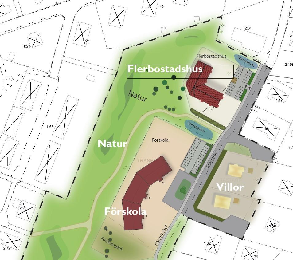 Skiss över området som detaljplaneläggs
